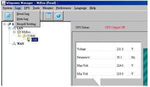 Phần log trong phần mềm quản lý UPS